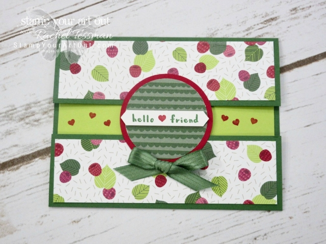 Click here for supplies, measurements AND to watch my quick video to see how to make this Peek-a-Boo Gate Fold Card with Bow Closure using the Fruit Basket Stamp Set and Tutti Frutti Designer Series Paper…#stampyourartout #stampinup - Stampin' Up!® - Stamp Your Art Out! www.stampyourartout.com