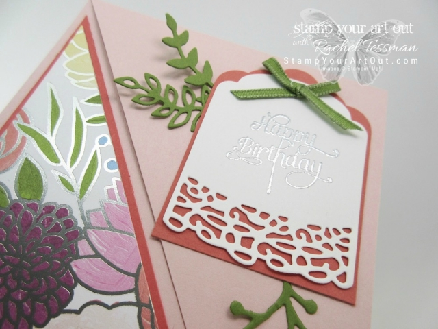 A Diagonal Fold Over card created with the beautiful Sweet Soirée Designer Paper, some coordinating cardstock colors, the Cake Soirée stamp set, and the coordinating Sweet Cake Framelits dies. Click here for more information…#stampyourartout #stampinup - Stampin' Up!® - Stamp Your Art Out! www.stampyourartout.com