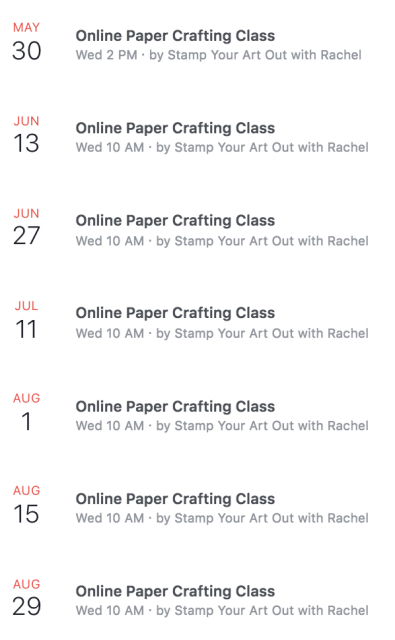 My Summer 2018 Facebook Live broadcast schedule. Hope you can join me at Stamp Your Art Out with Rachel for my Online Paper Crafting Classes. There is no cost, you just need to be on Facebook I order to catch my live broadcasts…#stampyourartout #stampinup - Stampin' Up!® - Stamp Your Art Out! www.stampyourartout.com