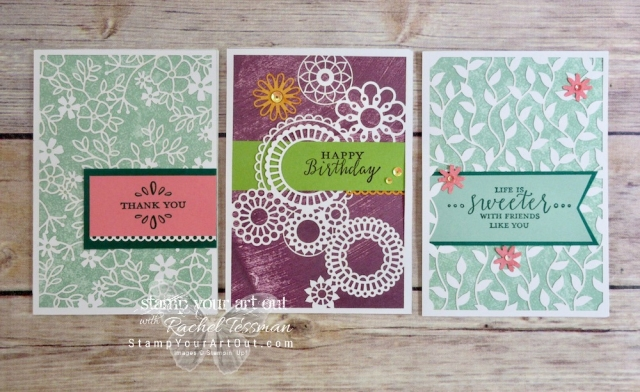 Click here for more information & to watch my quick video to see how I made several note cards using the Delightfully Detailed Laser-Cut Designer Paper, other products from the Delightfully Detailed Suite, Tranquil Treasures Designer Paper, Whisper White Note Cards, sponges, sequins, and a couple of our liquid glues.…#stampyourartout #stampinup - Stampin' Up!® - Stamp Your Art Out! www.stampyourartout.com