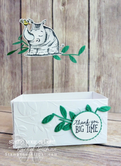 "Click here for more information & to watch my quick video to see how I made this adorable ""huge thanks rhinoceros treat box"" from some of the new products that just debuted in the 2018-19 Annual Catalog: Animal Outing stamp set, Animal Friends thinlits dies, Lustrous White Mini Gable boxes, and Call Me Clover Leaf Ribbon…#stampyourartout #stampinup - Stampin' Up!® - Stamp Your Art Out! www.stampyourartout.com"