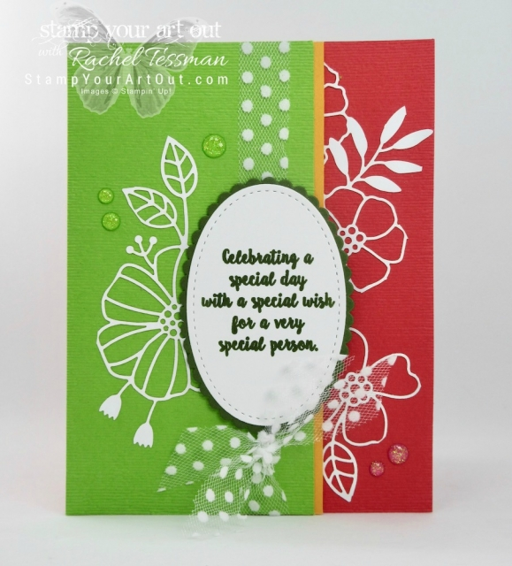 A special card for that special someone created with the Delightfully Detailed Laser-cut designer paper, Wonderful Moments stamp set, and the Whisper White Polka-Dot Tulle ribbon…#stampyourartout #stampinup - Stampin' Up!® - Stamp Your Art Out! www.stampyourartout.com