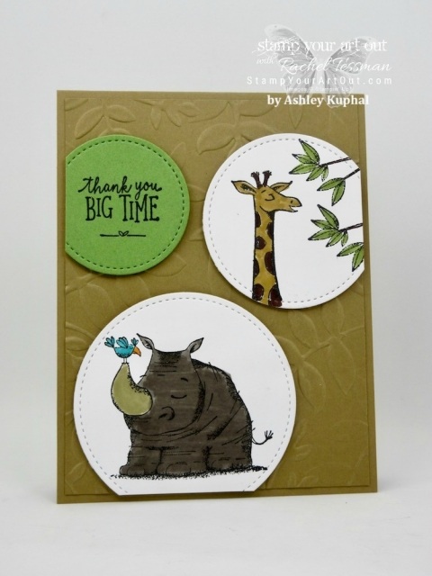 A great card made with the Stitched Shapes Framelits & the Animal Outing Stamp Set...#stampyourartout #stampinup - Stampin' Up!® - Stamp Your Art Out! www.stampyourartout.com