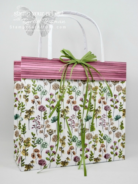 A beautiful collapsible gift bag made with two full 12x12 sheets of Share What You Love Designer Paper…#stampyourartout #stampinup - Stampin' Up!® - Stamp Your Art Out! www.stampyourartout.com