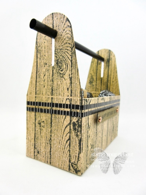 """A fun """"tool box"""" made by altering a Lusterous White Mini Gable Box, stamping it with the Hardwood background stamp, and spritzing it with Soft Suede ink to """"brown it up"""" a bit.…#stampyourartout #stampinup - Stampin' Up!® - Stamp Your Art Out! www.stampyourartout.com"""