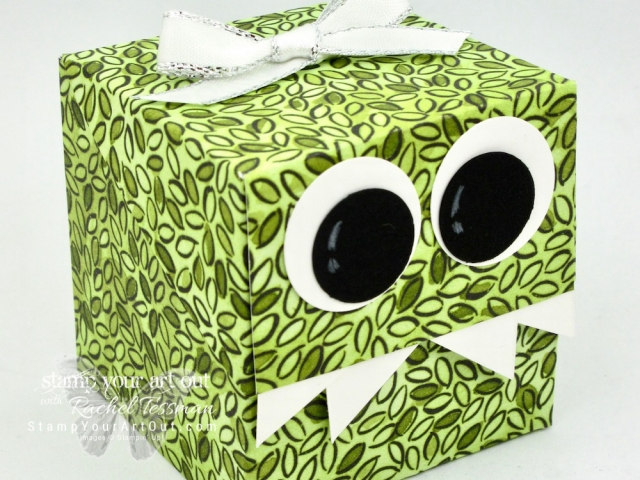 Click here for more information & to watch my quick video to see how to make a super adorable Monster Box (Diagonal Lid Cube Box)…#stampyourartout #stampinup - Stampin' Up!® - Stamp Your Art Out! www.stampyourartout.com