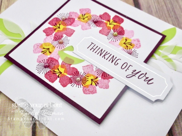 Click here for more information & to watch my quick video to see how to combine the stamp images & supplies in the August 2018 Blissful Blooms kit AND the Stamparatus tool and make this beautiful wreath card…#stampyourartout #stampinup - Stampin' Up!® - Stamp Your Art Out! www.stampyourartout.com
