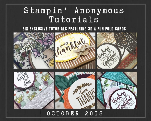 "Monthly Tutorial Bundles contain 6 EXCLUSIVE ""better than flat"" projects (fun fold cards or 3-D items) created by myself and 5 other talented, but anonymous Stampin' Up! demonstrators. Place an order in the month of October, and get this bundle for free! Or choose the option to purchase them for just $9.95…#stampyourartout #stampinup - Stampin' Up!® - Stamp Your Art Out! www.stampyourartout.com"