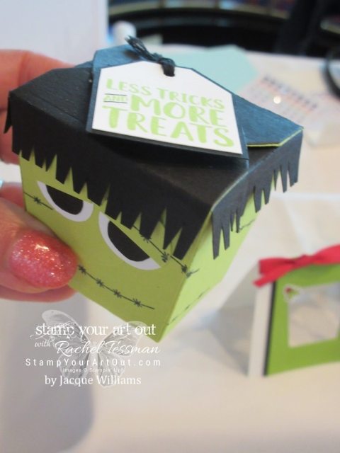 Click here to see how I made an adorable mini Jack-o-lantern/pumpkin treat box with the Spooky Bats Punch & the Takeout Box Dies (both new in the 2018 Holiday Catalog). I was inspired by this fun Frankenstein that Jacque Williams made and shared on the 2018 Alaskan incentive trip…#stampyourartout #stampinup - Stampin' Up!® - Stamp Your Art Out! www.stampyourartout.com