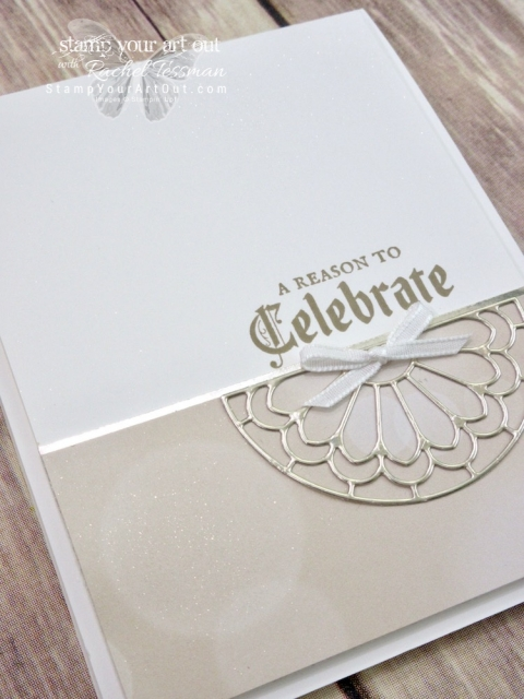 """A simply elegant """"celebrate"""" card made with the Painted Glass stamp set, Stained Glass Thinlits Dies, All Is Bright Designer Paper and Champagne Shimmer Paint. Click here for directions, measurments and a complete list of supplies....#stampyourartout #stampinup - Stampin' Up!® - Stamp Your Art Out! www.stampyourartout.com"""