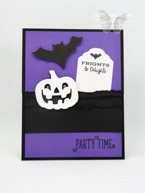 "Click here to see my Halloween party invite z-fold card, my cute party décor idea AND several other alternate project ideas created with the September 2018 Frights & Delights Paper Pumpkin Kit shared in our blog hop: ""A Paper Pumpkin Thing""!…#stampyourartout #stampinup - Stampin' Up!® - Stamp Your Art Out! www.stampyourartout.com"