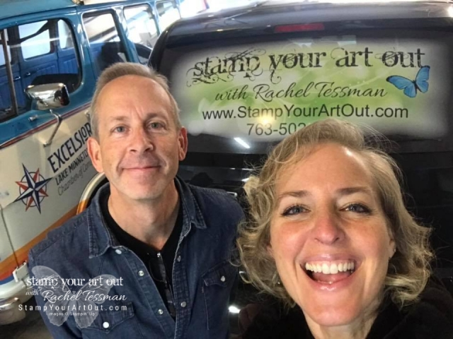 My cousin Mike fancied up my back van window with my company logo today! I love it!!! Thx Mike at Choice Signs & Graphics! www.choicesigns.net - https://www.facebook.com/ChoiceSigns/ … stampyourartout #stampinup - Stampin' Up!® - Stamp Your Art Out! www.stampyourartout.com