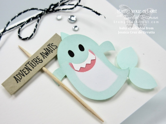 """I just had to CASE the """"baby shark from the ghost"""" idea from Jessica Cruz de Urrutia and make a card of my own! Too cute! One more alternate project idea that I put together (and gifted to a few of my subscribers) with the September 2018 Frights & Delights Paper Pumpkin kit…#stampyourartout #stampinup - Stampin' Up!® - Stamp Your Art Out! www.stampyourartout.com"""