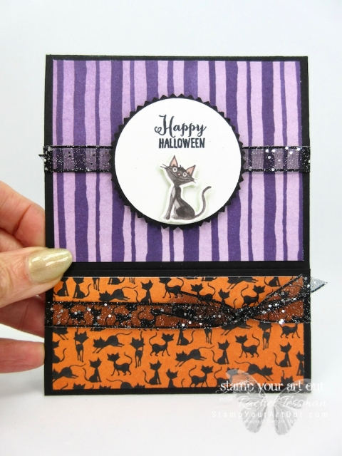 Click here to see two Slide Out Pocket Fun Fold Cards that I created with the Toil & Trouble Designer Paper and some coordinating products from the 2018 Holiday Catalog. You can also find measurements, a complete list of supplies, and a link to a how-to video that includes directions for how to make these great cards!...#stampyourartout #stampinup - Stampin' Up!® - Stamp Your Art Out! www.stampyourartout.com