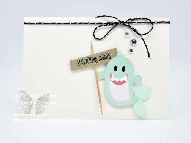 "I just had to CASE the ""baby shark from the ghost"" idea from Jessica Cruz de Urrutia and make a card of my own! Too cute! One more alternate project idea that I put together (and gifted to a few of my subscribers) with the September 2018 Frights & Delights Paper Pumpkin kit…#stampyourartout #stampinup - Stampin' Up!® - Stamp Your Art Out! www.stampyourartout.com"