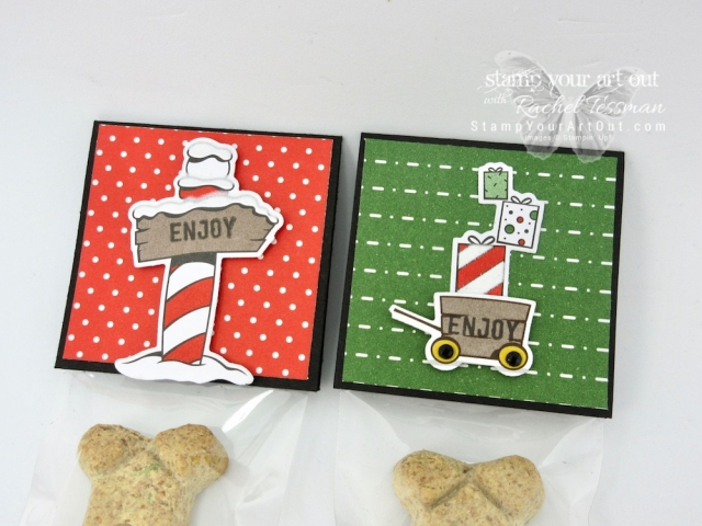 A couple projects I made for the Craft Fair: Clear Treat Boxes filled with Ghirardelli and decorated with Frosted Vellum leaves from the Frosted Bouquet Framelits and Frosted & Clear Epoxy Droplits AND doggy treats with cello bag toppers decorated with Santa's Workshop paired with Santa's Signpost Framelit dies…#stampyourartout #stampinup - Stampin' Up!® - Stamp Your Art Out! www.stampyourartout.com