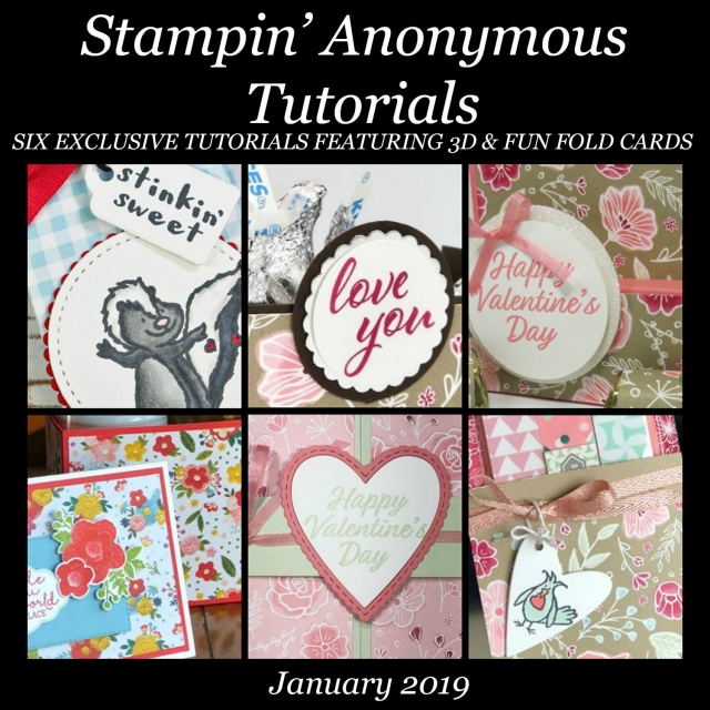 "Monthly Tutorial Bundles contain 6 EXCLUSIVE ""better than flat"" projects (fun fold cards or 3-D items) created by myself and 5 other talented, but anonymous Stampin' Up! demonstrators. Place an order in the month of January, and get this bundle for free! Or choose the option to purchase them for just $9.95…#stampyourartout #stampinup - Stampin' Up!® - Stamp Your Art Out! www.stampyourartout.com"