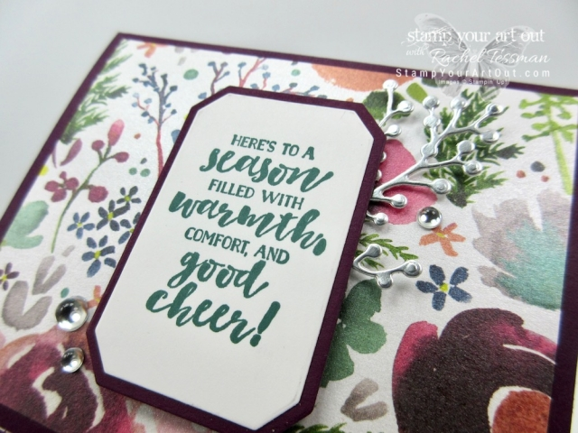 A Slide Out Pocket Fun Fold card made with products in the 2018 Holiday Catalog Frosted Floral Suite: Frosted Floral designer paper, First Frost stamp set, Frosted Bouquet framelits, and the Frosted & Clear Epoxy Droplets…#stampyourartout #stampinup - Stampin' Up!® - Stamp Your Art Out! www.stampyourartout.com