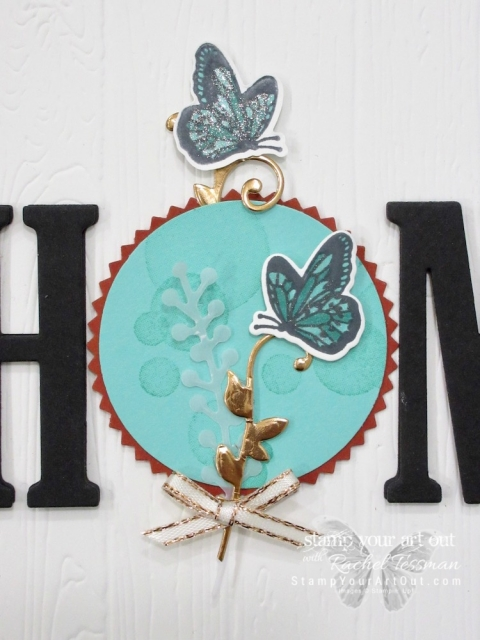 """Click here to see how I turn some of the beautiful new product that will be available in the 2019 Occasions Catalog (the Beauty Abounds stamp set and the coordinating Butterfly Thinlits dies) into """"card candy"""" that can embellish a card front or become the """"O"""" in my 12 Months of Home class project. You can also find measurements, a complete list of supplies, and a link to a how-to video that includes directions for how to make this beautiful butterfly accent piece!...#stampyourartout #stampinup - Stampin' Up!® - Stamp Your Art Out! www.stampyourartout.com"""
