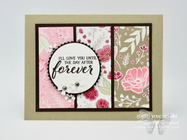 Click here to see four variations of this tri-panel card. I created them all with three coordinating patterns from the All My Love Designer Paper, sentiment images from the Forever Lovely stamp set, and the flower dies from the Lovely Flowers Edgelits Dies – all new products that will be available in the 2019 Occasions Catalog. You can also find measurements, directions, and a complete list of supplies. #stampyourartout #stampinup - Stampin' Up!® - Stamp Your Art Out! www.stampyourartout.com