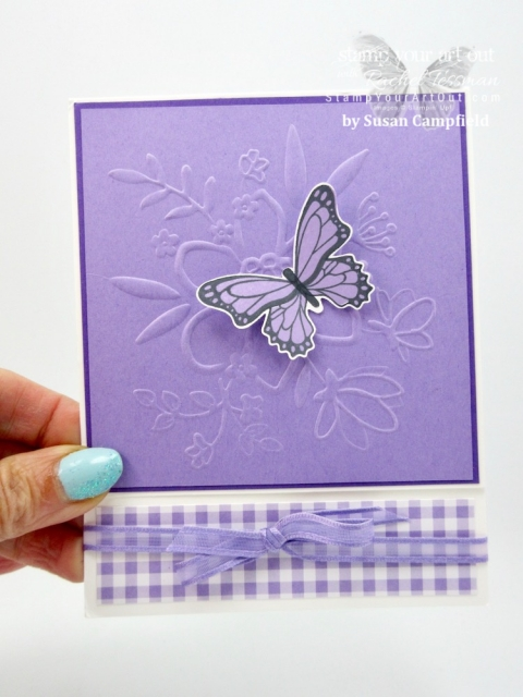 A beautiful card (created with the Butterfly Gala stamp set, Gingham Gala designer paper, Lovely Floral Embossing Folder, and the Highland Heather Organdy Sale-a-Bration Ribbon) made by Susan Campfield! #stampyourartout #stampinup - Stampin' Up!® - Stamp Your Art Out! www.stampyourartout.com