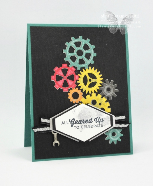 The Classic Garage Suite is a fun one for making masculine cards and gifts. Here is a card we made at our Silver Elite Retreat. It features the Geared Up Garage Stamp Set, the Classic Garage Designer Paper, the Garage Gears Thinlits, the Classic Garage Metal Elements, the Black/Silver Striped Metallic Ribbon, and the Tailored Tag Punch. Click here for directions, measurements, and supplies. #stampyourartout #stampinup - Stampin' Up!® - Stamp Your Art Out! www.stampyourartout.com
