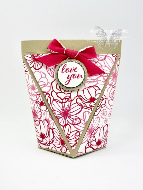 Click here to see several fun Valentine's Day self-closing treat/gift boxes. I created many of them with the All My Love Designer Paper from the 2019 Occasions Catalog, but I also created a larger one with the Floral Romance Designer Paper, another new product in the 2019 Occasions Catalog. Click here to watch my how-to video, get measurements for the box, and see a complete list of supplies for the box that I demonstrate in my video. #stampyourartout #stampinup - Stampin' Up!® - Stamp Your Art Out! www.stampyourartout.com