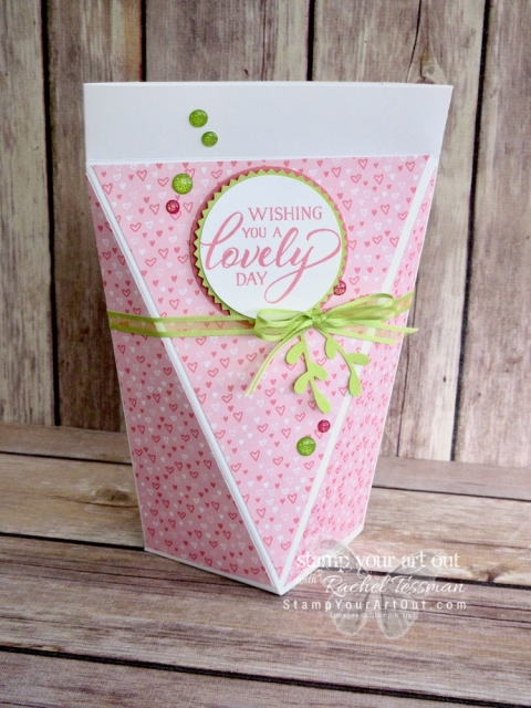 Click here to see two large self-closing treat/gift boxes. I created one with the All My Love Designer Paper from the 2019 Occasions Catalog and the other with the Floral Romance Designer Paper, another new product in the 2019 Occasions Catalog. Click here to get measurements and a supply list for each box, access a link to a how-to video for this style box, and see more photos. #stampyourartout #stampinup - Stampin' Up!® - Stamp Your Art Out! www.stampyourartout.com
