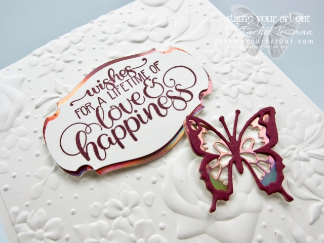 Here is one of my simple card designs I made with the Country Floral embossing folder, the new Story Label punch, the Grapefruit Grove Foil Sheets, the Dandelion Wishes stamp set, and the Butterfly Beauty Thinlits dies. Click here for directions, more photos, and a complete product list linked to my online store. #stampyourartout #stampinup - Stampin' Up!® - Stamp Your Art Out! www.stampyourartout.com