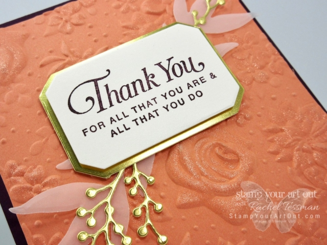The new Country Floral Embossing Folder that just debuted on February 15 as a new Sale-a-Bration Level 1 free pick is a favorite of mine! I colored all the embossed flowers on this card with the Wink of Stella glitter pen. I love the results! I also used the All That You Are stamp set and the coordinating Frosted Bouquet Framelits to complete the card. Click here for more information. #stampyourartout #stampinup - Stampin' Up!® - Stamp Your Art Out! www.stampyourartout.com