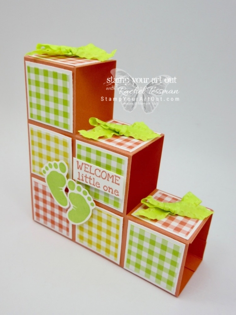 "Click here to see five versions of my Baby Blocks/Stair Step 3-D fun-fold card that I made with the Gingham Gala Designer Paper and the First Steps Stamp Set from the 2019 Occasions Catalog! I altered the measurements that I've seen in other similar cards so they fit in a standard A2 envelope (when folded flat they measure 4-1/8"" x 5-1/2""). I'm super excited to share with you. Be sure to watch the how-to video too, so you can see all my tips and tricks and get the step-by-step directions! #stampyourartout #stampinup - Stampin' Up!® - Stamp Your Art Out! www.stampyourartout.com"