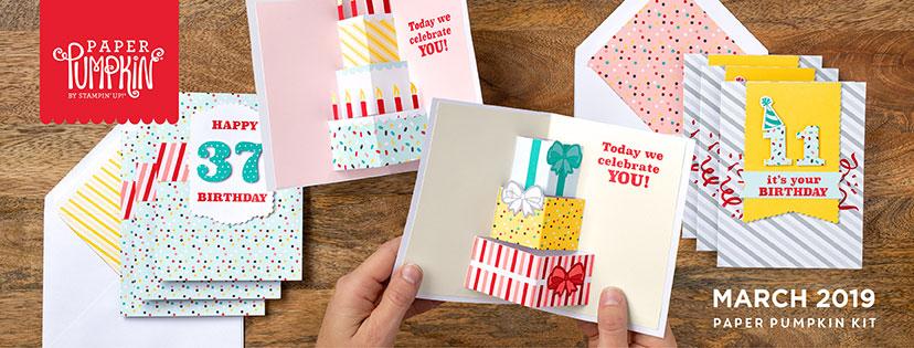 The March 2019 Poppin' Birthday Pumpkin kit stamp set. #onestopbox #stampyourartout #stampinup - Stampin' Up!® - Stamp Your Art Out! www.stampyourartout.com