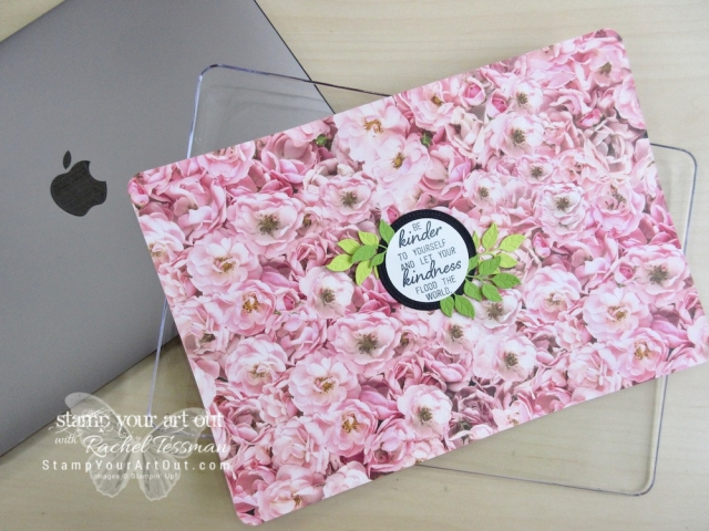 Clear cases make it fun for us creative folk…I now have a custom designed cover for my laptop computer! I used Petal Promenade Designer Paper, Wonderful Floral Framelits Dies, and a sentiment from the February 2019 Grown with Kindness Stamp Set for this cover. But I can change it out whenever I wish. #stampyourartout #stampinup - Stampin' Up!® - Stamp Your Art Out! www.stampyourartout.com