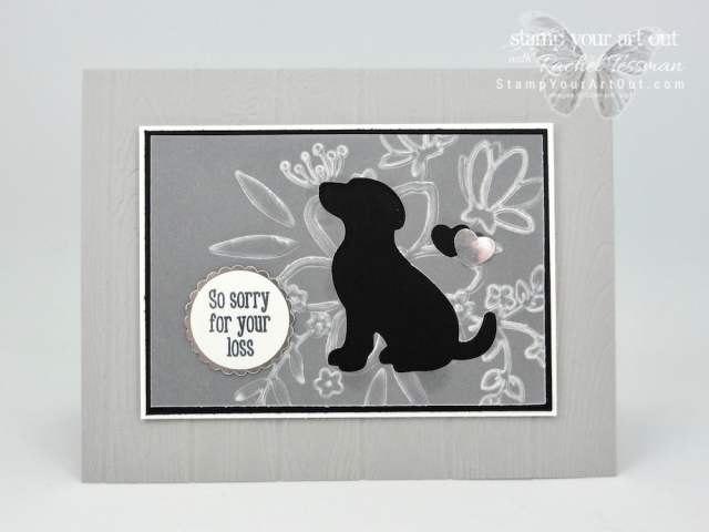 I have two more versions of my Pet Silhouette Sympathy Cards. I made one with the Botanical Butterfly Designer Paper (available as a free Sale-a-Bration pick through 3/31/19) and the other with embossed Vellum. I also used the Dog Builder Punch and the Happy Tails Stamp Set from the 2019 Occasions Catalog. Click here for more photos and more information! #stampyourartout #stampinup - Stampin' Up!® - Stamp Your Art Out! www.stampyourartout.com