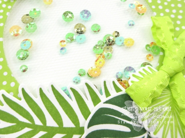 Shake things up by making a flat tulle shaker card! I created this one using the Tropical Chic stamp set, the Tropical Thinlits dies, the Lemon Lime Twist (a soon-to-be retiring color) Ruffled Ribbon, the Iridescent Sequins Assortment, and the 2017-19 In Color Designer Paper. Click here to learn! #stampyourartout #stampinup - Stampin' Up!® - Stamp Your Art Out! www.stampyourartout.com