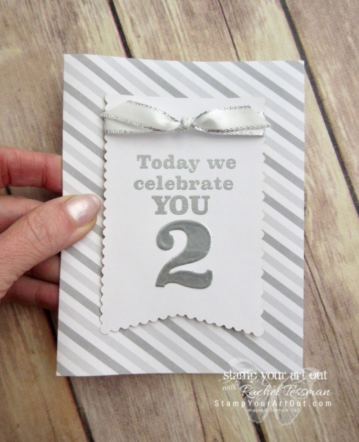 """Click here to see & get details about how to make this wedding card & matching gift tag AND see several other alternate project ideas created with the March 2019 Poppin' Birthday Paper Pumpkin Kit in our blog hop: """"A Paper Pumpkin Thing""""! #onestopbox #stampyourartout #stampinup - Stampin' Up!® - Stamp Your Art Out! www.stampyourartout.com"""