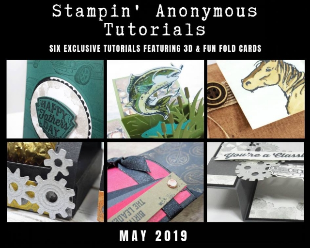 "Stampin' Anonymous Tutorials contain 6 EXCLUSIVE ""better than flat"" projects (fun fold cards or 3-D items) created by myself and 5 other talented Stampin' Up! demonstrators. Place an order in the month of May, and get this bundle for free! Or choose the option to purchase any of the bundles for just $9.95. #stampyourartout #stampinup - Stampin' Up!® - Stamp Your Art Out! www.stampyourartout.com"