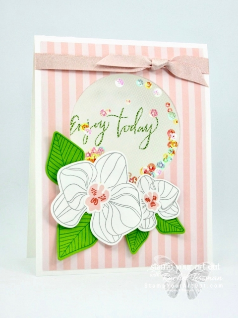 Click here to see three versions of my tulle shaker card I made with the outgoing 2017-19 In Color Designer Paper, the Layering Circles Framelits Dies, and the beautiful Climbing Orchid Stamp Set from the 2018-19 Annual Catalog. Access measurements and shop the products I used. Be sure to watch the how-to video too so you can see all my tips and tricks and get the step-by-step directions! #stampyourartout #stampinup - Stampin' Up!® - Stamp Your Art Out! www.stampyourartout.com
