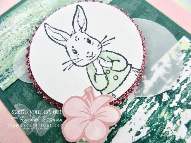 I've created this sweet bunny card (perfect for celebrating Easter or the arrival of a new baby) with the Fable Friends stamp set, colors from the out-going 2017-19 In Color collection (Powder Pink and Tranquil Tide), the Tranquil Textures designer paper, and the Tropical Escape designer paper. Click here to learn more and get the details for recreating this card! #stampyourartout #stampinup - Stampin' Up!® - Stamp Your Art Out! www.stampyourartout.com
