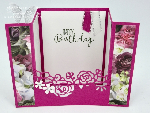 I've created this pretty floral bridge fold card with the Special Celebrations stamp set, Berry Burst Cardstock from the out-going 2017-19 In Color collection, the Petal Promenade Designer Paper, and the Lovely Flowers Edgelits Dies. Click here to learn more and get the details for recreating this card! #stampyourartout #stampinup - Stampin' Up!® - Stamp Your Art Out! www.stampyourartout.com