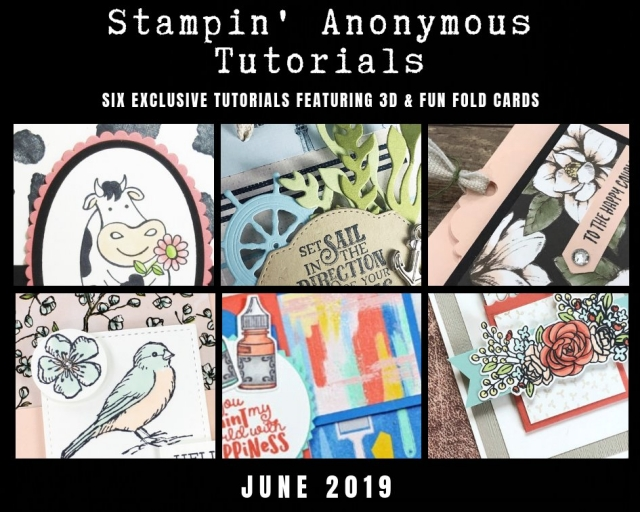 "Stampin' Anonymous Tutorials contain 6 EXCLUSIVE ""better than flat"" projects (fun fold cards or 3-D items) created by myself and 5 other talented Stampin' Up! demonstrators. Place an order in the month of June, and get this bundle for free! Or choose the option to purchase any of the bundles for just $9.95. #stampyourartout #stampinup - Stampin' Up!® - Stamp Your Art Out! www.stampyourartout.com"