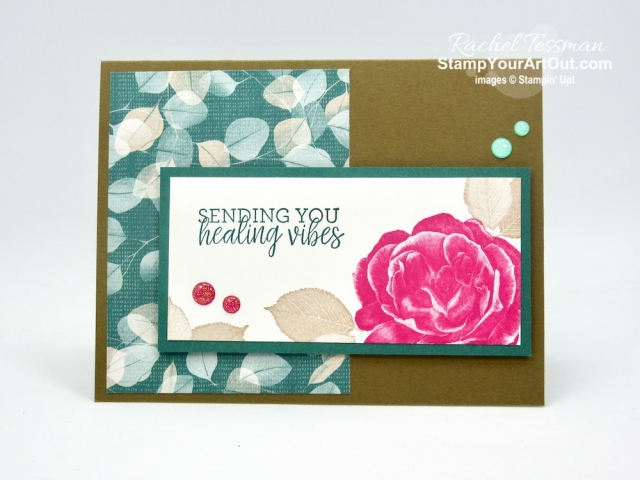 Click here to see a how I made this get well card with the Healing Hugs Stamp Set, Glitter Enamel Dots, and Nature's Poem Designer Paper. You'll be able to access measurements, directions, and links to the products I used. #stampyourartout #stampinup - Stampin' Up!® - Stamp Your Art Out! www.stampyourartout.com