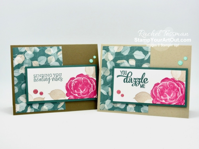 Click here to see a how I made cards with the Healing Hugs Stamp Set, Glitter Enamel Dots, and Nature's Poem Designer Paper. You'll be able to access measurements, directions, and links to the products I used. #stampyourartout #stampinup - Stampin' Up!® - Stamp Your Art Out! www.stampyourartout.com
