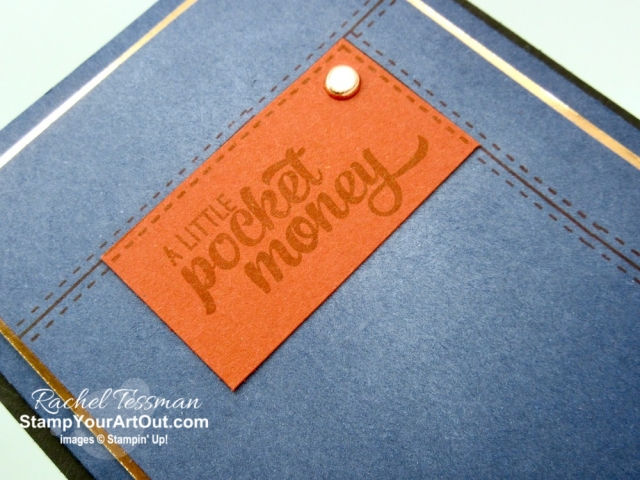 Click here to see how to make this fun masculine jean pocket card using the Pocket Full of Sunshine, Metallic Brads, sandpaper, and sponged on Whisper White Craft Ink. And what a great card for graduations or birthdays. This stamp set is retiring and only be available until June 3, 2019 or while supplies last. Be sure to watch my video so you can see all my tips and tricks and get the step-by-step directions! #stampyourartout #stampinup - Stampin' Up!® - Stamp Your Art Out! www.stampyourartout.com