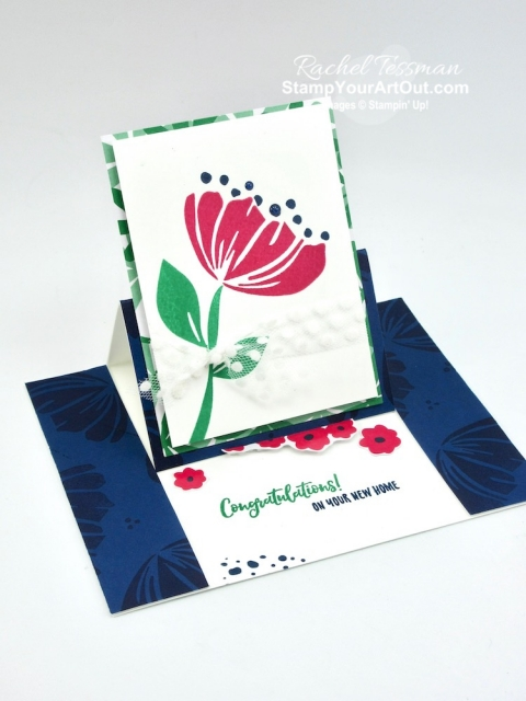 I've made a Center Slide Easel Card with the retiring products from the Happiness Blooms Suite: Bloom By Bloom Stamp Set, Happiness Blooms Memories & More Card Pack, and Happiness Blooms Enamel Dots. I also used images from the upcoming new Delightful Day Stamp Set. Click here to get measurements, directions, and a supply list linked to my online store. #stampyourartout #stampinup - Stampin' Up!® - Stamp Your Art Out! www.stampyourartout.com