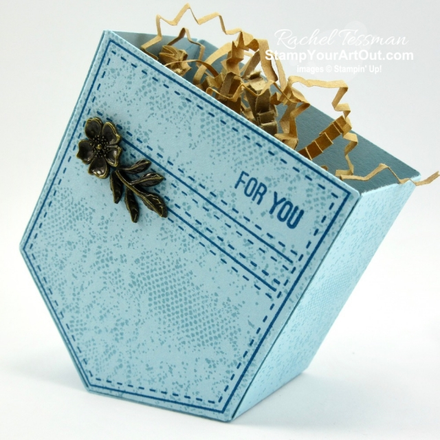 Here is another fun project you can make with the Pocketful of Sunshine Stamp Set and coordinating Pocket Framelits Dies…a jean pocket treat box! I also used the Touches of Texture Stamp Set to get that subtle floral lace print look. These two stamp sets retire June 3, so be sure to get your hands on them soon. Click here for more photos and more information! #stampyourartout #stampinup - Stampin' Up!® - Stamp Your Art Out! www.stampyourartout.com