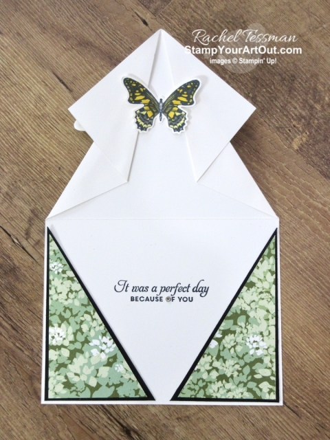 I'm playing with new products that will be available to all June 4, 2019. Click here to see how to make this fun arrow fold card with the Butterfly Wishes Stamp Set, Butterfly Duet Punch, Garden Lane Designer Paper, Stampin' Blends Markers, and some careful folding. You'll also be able to access measurements, other close-up photos, links to the products I used, and a link to a how-to video that I made for these arrow fold cards. #stampyourartout #stampinup - Stampin' Up!® - Stamp Your Art Out! www.stampyourartout.com
