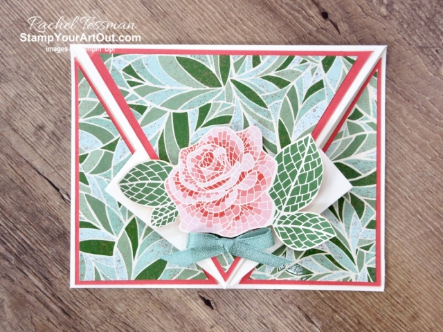 Greek Isles Achievers Blog Hop June 2019: New 2019-20 Annual Catalog Products! This is my swap card for this trip. It's an arrow-fold card that I made with the Mosaic Mood Designer paper and the Woven Heirlooms Stamp Set. Click here for directions, measurements and supplies. #stampyourartout #stampinup - Stampin' Up!® - Stamp Your Art Out! www.stampyourartout.com