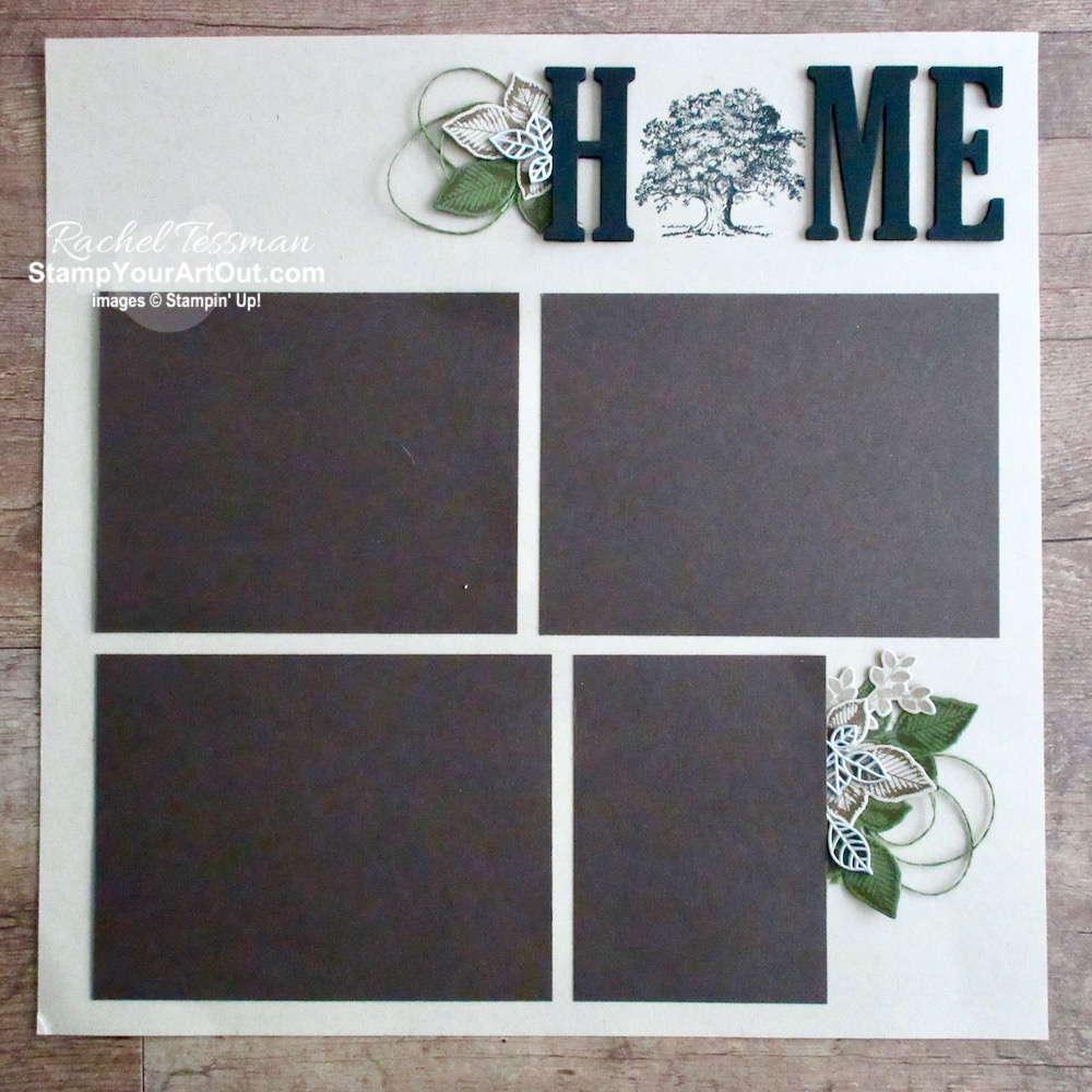 12x12 Scrapbook page layout featuring the Rooted In Nature stamp set, the coordinating Nature's Roots dies, and the Large Letter Framelits. #stampyourartout #stampinup - Stampin' Up!® - Stamp Your Art Out! www.stampyourartout.com