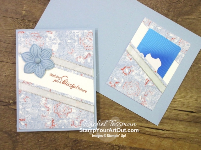 "Click here to see how to ""stretch"" your designer paper layer and how to add a fun coordinating pocket inside a card to hold cash or a gift card. I use the new 2019-21 In Colors, the Woven Threads Designer Paper, the Floral Essence Stamp Set, the In Color Faceted Dots and more. I also share several versions of this card. Watch my video so you can see all my tips and tricks and get the step-by-step directions! You'll also be able to access measurements, other close-up photos, and links to the products I used. #stampyourartout #stampinup - Stampin' Up!® - Stamp Your Art Out! www.stampyourartout.com"